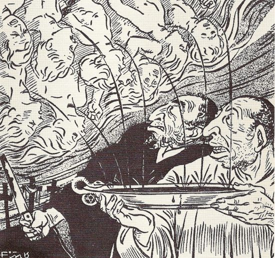 "Judeus como carniceiros de anjos loiros no jornal nazista ""Der Stürmer""."