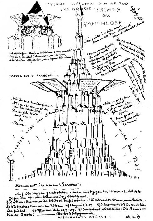 Bruno Traut - Monument des neuen Gesetzes (Monumento da Nova Lei, 1919).