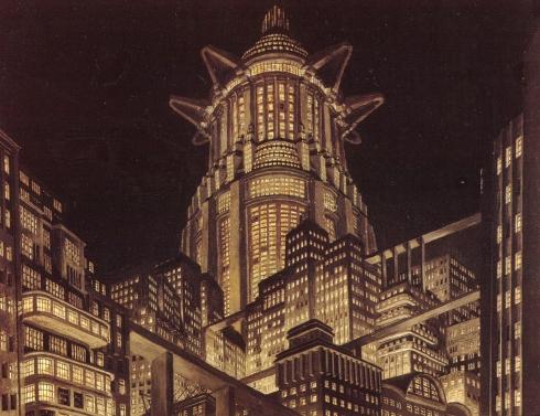Torre de Babel em desenho de Erich Kettelhut.