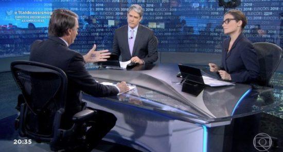 Bolsonaro cola as palavras DEUS, FAMÍLIA e BRASIL em entrevista à Rede Globo. (1)